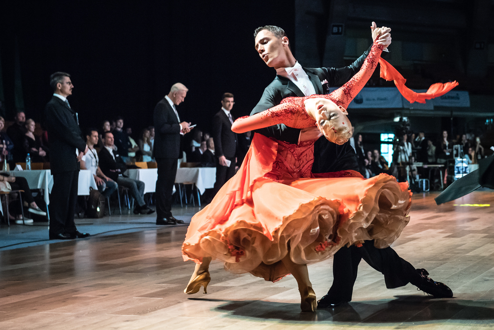 Couple dancing the waltz at a competition