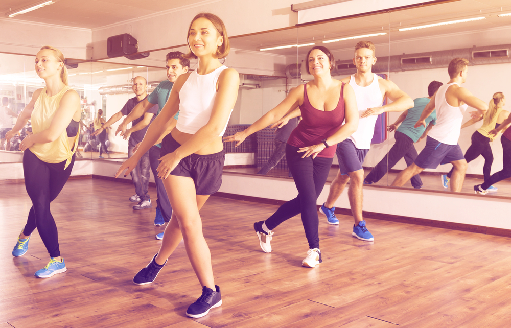 Group of people in a dance cardio class